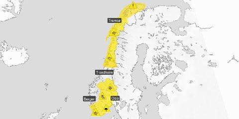 GULT FAREVARSEL: Hele Norge ser ut som ett stort farevarsel fordi det er ventet mye snø de neste dagene.