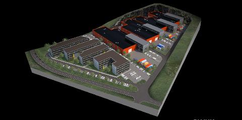 Det er Plank Arkitekter som står bak illustrasjonen av hvordan Bærheim næringspark er planlagt.