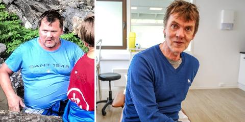 FØR OG NÅ: For to år siden var Hans Rydningen overvektig og utrent. Nå har han lagt om livsstilen fullstendig. Han trener og har et sunt kosthold og har gått ned 45 kilo.