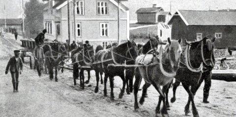 """""""– Noen ganger gikk søla til navet og hestene kunne slite med lass på 17–18 tonn som skulle opp til Svelgfoss. H. Johan Christensen, hestekar"""