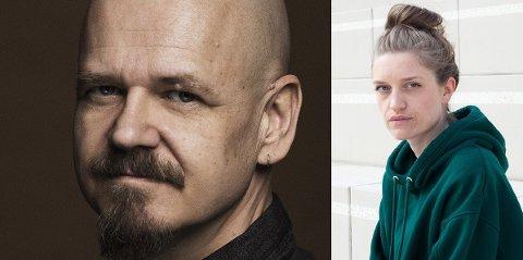 FORFATTERMØTE: Kim Leine blir med på storskjerm fra Danmark når Notodden-forfatter Amalie Kasin Lerstang intervjuer ham om Grønland-triologien hans.