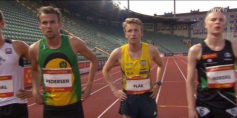 KLAR: Mathias Flak før starten på det historiske løpet på Bislett. Aldri før har en nordtrønder løpt under 14.00 på 5000 meter.