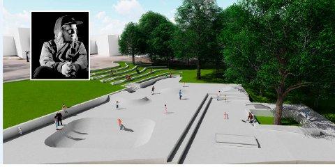 OPPGRADERING: Her ser vi en av rådmannens tegninger som viser hvordan parken kan bli. Skater Kristoffer Myhre (innfelt) er begeistret, men råder kommunen til å fjerne trær som vil gi masse løv på banen.
