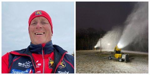GLAD: Leder for skigruppa i Røa IL, Rune Lorenzen,  håper på minusgrader slik at de kan tråkke de første skiløypene snart. De produserte snø fra torsdag forrige uke, da det var minusgrader.  Foto: Privat