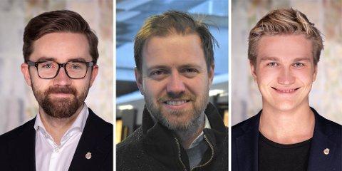 Fra venstre: Ola Wolff Elvevold (SV), Andreas Halse (Ap) og Nicolai Øyen Langfeldt