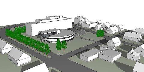 Kleiva Arkitekter. Alternativ til nytt tilbygg til fylkeshuset.