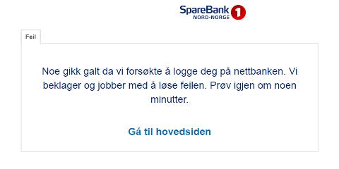 Denne meldingen møter kundene som prøver å logge seg inn i nettbanken hos Sparebank1 Nord-Norge tirsdag kveld.