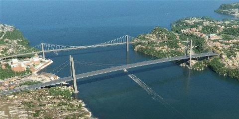 Der den nye Sotrabroen kommer (nærmest) går i dag høyspentlinjen som skal flyttes til gamlebroen. ILLUSTRASJON: STATENS VEGVESEN