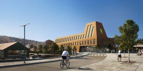 Slik ser Eigersunds nye rådhus ut i mulighetsstudien som nylig ble presentert for sentrum. John Mong (KrF) er opptatt av at politikerne        må sette av penger til prosjektet, som han mener bør kombineres med kulturhus.