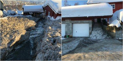 FOSSER OVER: Dette huset på Austad er rammet av en stor vannlekkasje, og det fosser gjennom huset og videre ned på veien.