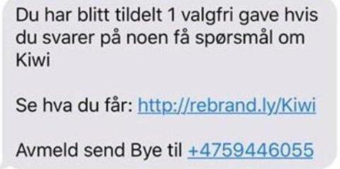 FALSK: Kiwi advarer mot denne SMS-en. Den er ikke fra butikkjeden.