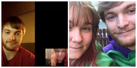 MØTTES PÅ NETT: Katina Bakke (21) og Tanner Mccain (25) møttes på nettet, men har ikke sett hverandre på ett år på grunn av koronaviruset. Bildet til høyre ble tatt sist gang de møttes, mens til venstre snakker de sammen på nett mens Tanner er på karantenehotell ved Gardermoen.