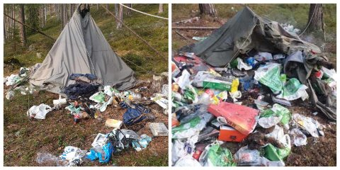 RYDDET OPP: Bjørn Bak tok affære da han oppdaget en hel haug med søppel ved Krokstadkollen tirsdag.