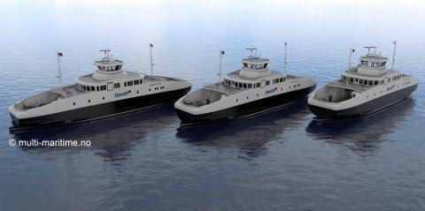 Dei tre nye el-ferjene til Fjord1