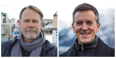 UEINIGE: Bjørn Hollevik (Høgre og FIN) og Erling Sande (sp) er ueinige i spørsmålet om EØS-avtala.