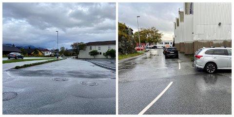STOPP: Kinn kommune ber Statens vegvesen om å innføre forbod mot å parkere på desse to områda. Ved ungdomsskulen, og i FJordagta.