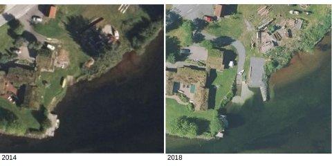 ENDRINGAR: Bilda viser flyfoto frå ein eigedom i Bygstad. Her ser ein kva tiltak som er gjort. Sunnfjord kommune meiner tiltaka som er utført må fjernast og at strandsona må tilbake til slik den var i 2014.