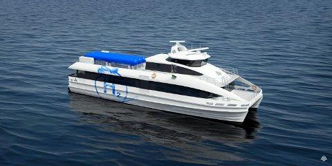 HYDROGEN: Slik ser den første hydrogendrivne hurtigbåten ut, som Brødrene Aa i Hyen skal bygge. Planen er at den skal sjøsettast i 2022.