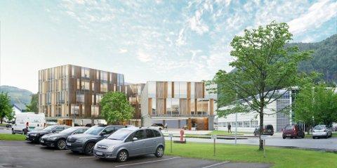 FEM ETASJAR: Det planlagde kontorbygget er på 4500 kvadratmeter, med fem etasjar i bygningskroppen til venstre. Firda Mediabygg til høgre.