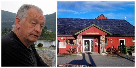 DEKKER TAKET: Rune Kjørvik i Gloppen camping har investert 700 000 kroner i nye solcellepanel. Desse skal dekke rundt 250 kvadrat, og er plassert på sørsida av taket på resepsjonsbygget.