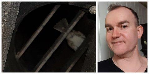 INSPEKSJON: – Eg stakk mobilen inn i peisen og tok bilde oppover. Då oppdaga eg fuglen, fortel Roger Pettersen.