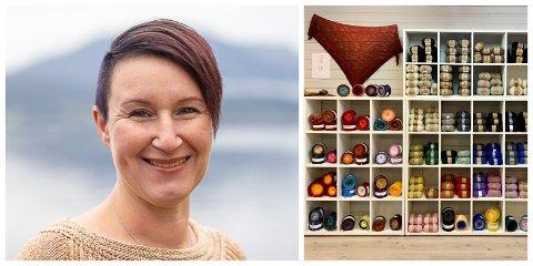STOLT: Annette Grosse er stolt eigar av ny butikk i Hellevik. Her skal ho drive med noko av det ho likar aller best, nemleg hekling og strikking.