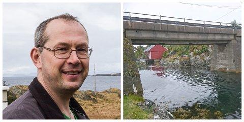 SJOKK: Roar Landøy passerte under brua då ein betingbit losna og fall ned i båten.