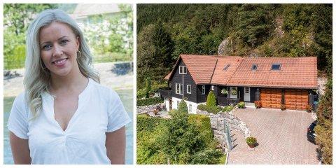 FORNØGD: Renate Ripe Johnsen, eigedomsmeklar i W Eiendomsmegling Sunnfjord, seier ho er fornøgd etter salet av denne einebustaden på Slåttebøen.