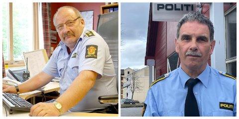 VANSKELEGE Å ERSTATTA: Magne Knudsen (t.v) og Ove Andersen sluttar etter ei årrekkje som leiarar for politiet i Sogn. Å finna dei som skal fylla deira sko, har så langt ikkje lukkast.