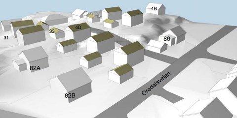 SJU NYE BOLIGER: Skisse som viser hvordan den nye  bebyggelsen i Oredalsveien kan bli sett sammen med bebyggelsen som ligger der i dag.