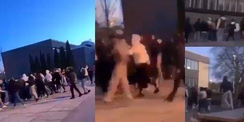 Fremtidig russ barket sammen ved Frederik II videregående skole i april i år. Gjengene hadde planlagt å møtes etter en uovernstemmelse. Bildene er klippet ut fra en video FB fikk fra stedet.