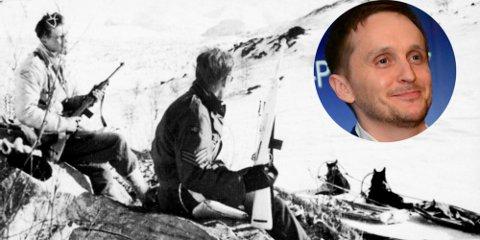 """Hovedpersonen i """"Slaget om Narvik"""" blir soldaten Hans Hardersen som kjempet under Hyldmos bataljon. Bildet viser en norsk patrulje fra Sepals II i fjellene øst for Narvik våren 1945. Foto fra Norsk Hjemmefrontmuseum."""