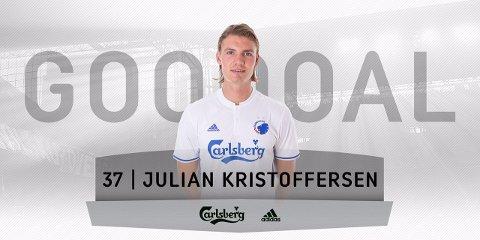 SCORING: Slik så Twitter-bildet FC København sende ut da Julian Kristoffersen scoret sitt første A-lagsmål for klubben.