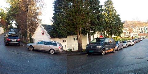 Under gudstjenesten søndag sto bilene tett i Kyrkjeveien. Bildet er en montasje av to bilder, tatt samme tid og sted.