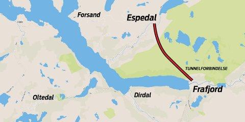 Tunnelen er prosjektert mellom Espedal og Frafjord, en strekning på 5,3 km.
