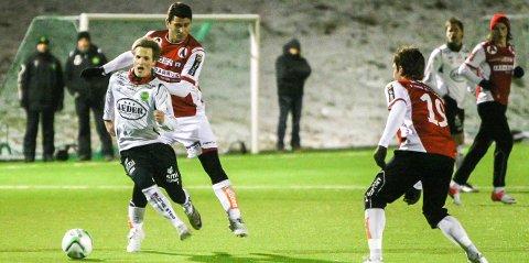 Bryne-spillerne hadde problemer med å stoppe Jonas Vølstad Fjeldsbø under fjorårets oppgjør (arkivfoto: Bjarte Espedokken).