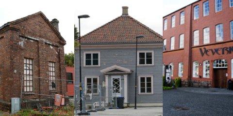 Lokstallen (fra venstre), Stasjonsbygningen og Veveriet er blant de historiske bygningene som er planlagt å bevare.