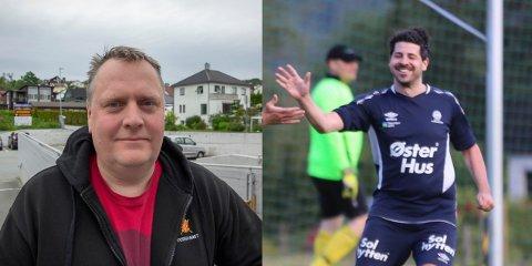 Jøran Dahl (til venstre) og David Nevland er nyvalgte medlemmer i styret til Oltedal fotballklubb.