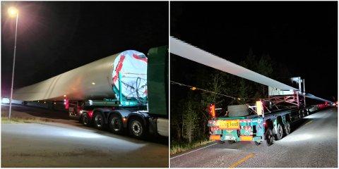 TUNGT OG LANGT: Disse doningene var to av de totalt ni tunge kjøretøyene ble kontrollert langs riksveg 25 natt til onsdag.
