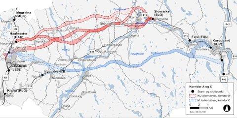 REAGERER: Kartet viser Nye Veiers faglige anbefaling for A-alternativet (rødt). At man vil ha en løsning åpent i terrenget sør for Skarnes skaper reaksjoner.