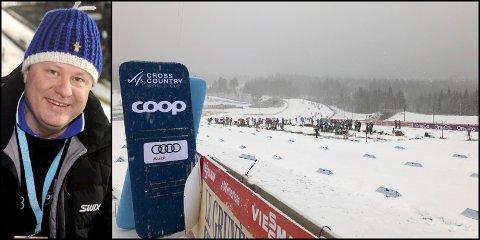 Torsdag formiddag var det snø og overskyet vær på skistadion. Verdenscup-sjefen Eiliv Furuli tror 15 minus hadde vært verre.