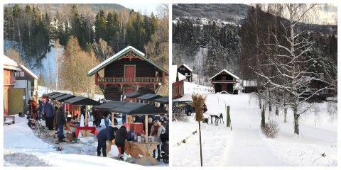 DA OG NÅ: Bildene viser forskjellen i aktivitet på førjulsaktiviteten på Aulestad i fjor og år.