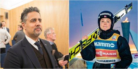 UTTRYKTE STØTTE: Den nybakte ministeren Abid Raja tok i helgen en telefon til sportssjef i hopp, Clas Brede Bråthen, hvor han uttrykte sin fulle støtte til kampen de nå fører. – Vi er kjempeglade for all støtte, sier Maren Lundby til TV2.