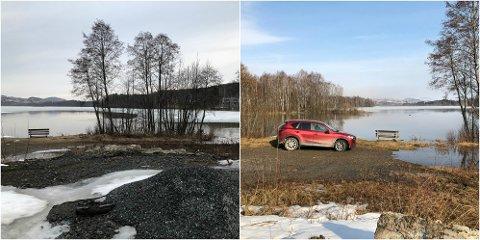 TORSDAG OG FREDAG: Bildet til venstre viser Sagatangen torsdag, bildet til høyre er fra Sagatangen fredag morgen.