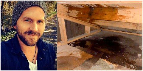 VANNSKADE: Vannet har kommet inn gjennom taket og trukket gjennom plater på loftsgulvet. – Det første jeg tenkte var at dette kommer til å koste en del penger som vi gjerne skulle brukt på noe helt annet, sier Vegard Torp Solberg.