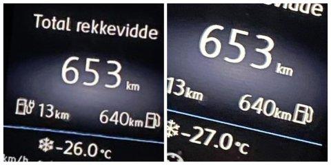 KALDT: Disse målingene viste rekordkulde i Viggadalen torsdag morgen. Henholdsvis minus 26 og minus 27 i Volla og på Roa.