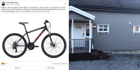 BORTE: Like under vinduet til høyre parkerte Phillip Kjølibråten sykkelen sin lørdag kveld. Morgenen etter var den borte.