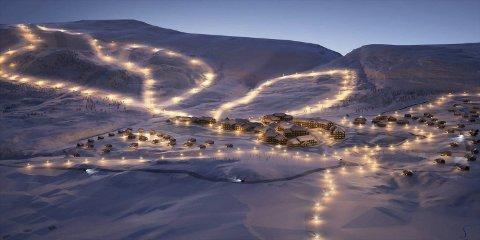 Slik ser Eidfjord Resort for seg Sysendalen når deira store utbygging er ferdig. Illustrasjon: Eidfjord Resort