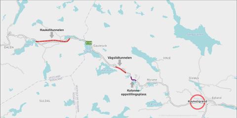 Kolonneoppstillingsplassen kjem på E134 mellom Myrane og Kjelavatn. Illustrasjon: Statens vegvesen.