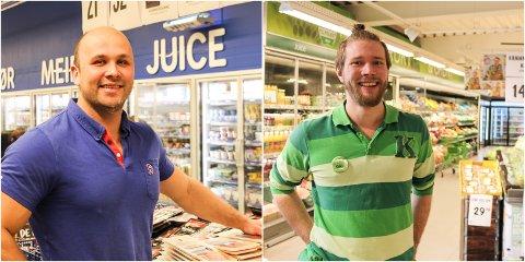 Tidenes sommer: F.v. kjøpmann Robin Eldnes på Rema 1000 og butikksjef Odin Aunøien på Kiwi Nyrud i Mosjøen gleder seg over en kraftig omsetningsvekst i sommer.